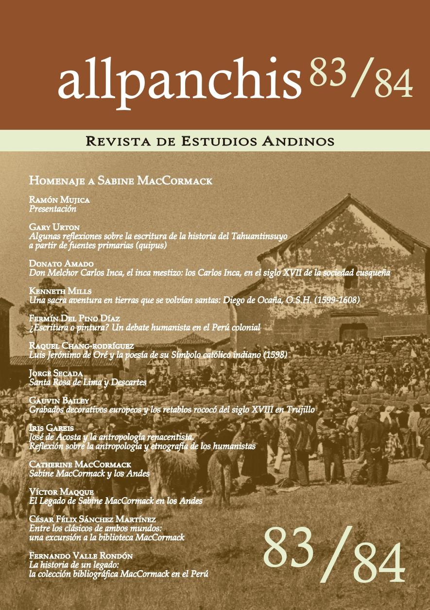 Ver Vol. 46 Núm. 83/84 (2019): Homenaje a Sabine MacCormack