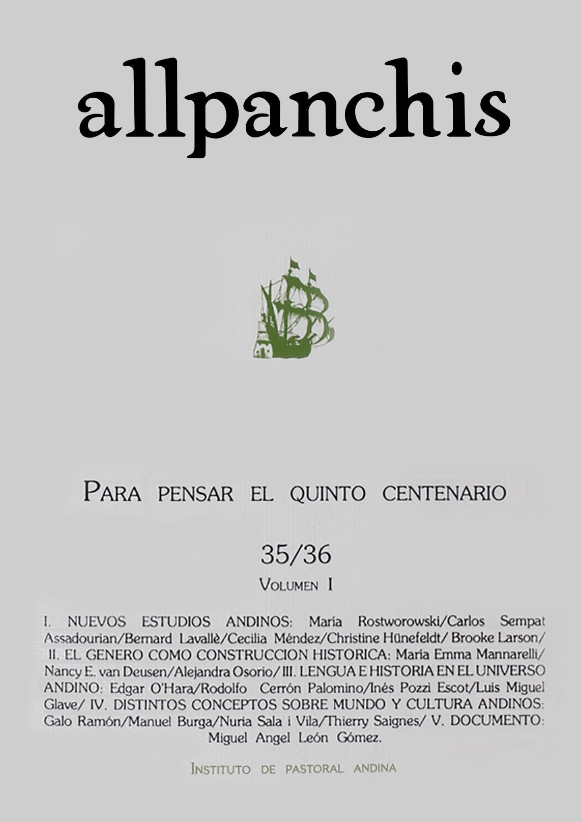 Allpanchis 35/36 (vol. 1)